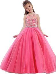 China Girls Pageant Dresses Little Toddler Pink Kids Ball Gown Floor Length Glitz Flower Girl Dress For Weddings Beaded Lavender Turquoise suppliers