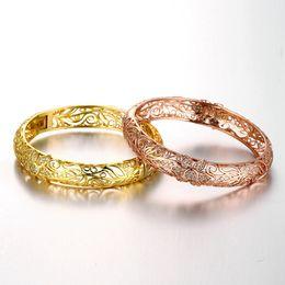 $enCountryForm.capitalKeyWord Canada - Elegant K Gold Zircon Engraving Engraved Pattern Lady Gold Bracelet Women Charm Bracelet Exquisite Bangle Bracelet Jewelry Gift For Women