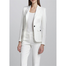 Costume Élégant En Dames Pas Cher-White Female Office Uniform Elegant Pant Suits 2 Piece Womens Trouser Suit Blazer Womens Business Costumes Costumes de femmes