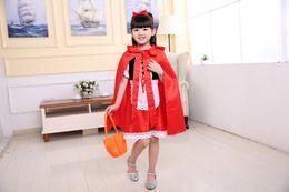 $enCountryForm.capitalKeyWord Canada - Wholesale Cute Little Red Riding Hood Costume Girl Kid's Halloween Cosplay Clothing Children's Princess Performance Dress For Kids