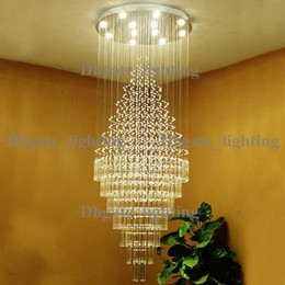 Duplex Living Room Lights Chandelier Hanging Wire Crystal Stair Lamp LED  Light