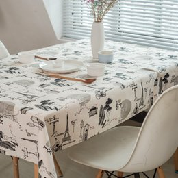 Cotton Print Material NZ - Fashion Tablecloths Eiffel Tower Pattern Dinner Picnic Table Cover Various Size For Choosing Cotton Liene Materials