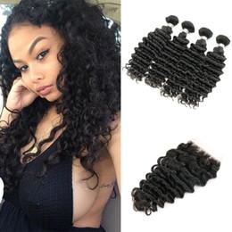 vietnamese virgin hair closure 2019 - Deep Curly Virgin Hair 4 Bundles with Lace Closure Brazilian Peruvian Indian Malaysian Cambodian Deep Wave Unprocessed H