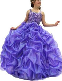 $enCountryForm.capitalKeyWord UK - Girls Straps Diamond Ball Gowns Kids Ruffles Beaded Dress Child Speical Occasion Birthday Party Pageant Dress