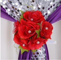Wall Curtains Canada - Beautiful Artificial Rose Silk Flower Gauze Curtain Clip Wedding Prop Backdrop Decoration 12 PCS lot free shipping