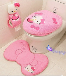 new hello kitty bathroom set toilet set cover wc seat cover bath mat holder closestool lid cover 4pcs set free shipping - Bathroom Set For Sale
