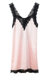 312a8bab48 Wholesale- 2015 New Pink Striped Suspender Skirt Sleepwear Charming Women s  Robes Sexy Black Lace Lingerie Night Gown One Size