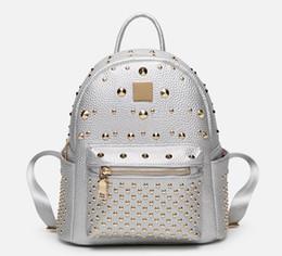 Backpack White Canada - New Genuine Leather rivet double shoulder backpack lady fashion casual handbag women single shoulder bag black white silver pink gold color