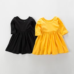 Barato Moda De Vestido Amarelo-Everweekend Girls Ruffles Dress Lovely Kids Yellow and Black Color Cotton Clothing Princesa Western Fashion Summer Party Clothes