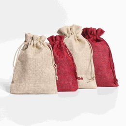 $enCountryForm.capitalKeyWord Canada - 5Pcs lot Wholesale Big Size Drawable Cotton Linen Christmas Wedding Gift Bags Jewelry Candy Packing Drawable Bags&pouch 13*18cm