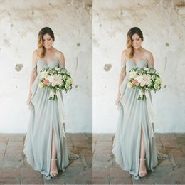 Wholesale Sage Boho Bridesmaid Dresses Eleagnt Long Wedding Guest Dress Chiffon Off Shoulder Side Split Plus Size Maid of Honor Gowns BM0182