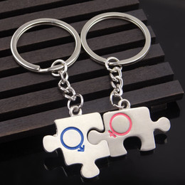 Discount unique keychain design Couple Puzzle Design Keychain Unique Lovers Metal Bag Pendant Car Key Chain Wedding Party Favor Keyring DHL Free Shippin