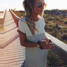 $enCountryForm.capitalKeyWord Canada - 2016 fashion new style Womens Ladies Cotton T Shirt Tops Striped Mini Dress Long Blouse Tee Shirts