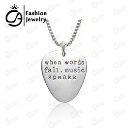 $enCountryForm.capitalKeyWord Canada - Wholesale Fashion Jewelry Guitar Pick Pendants When words fail, music speaks Charm Necklace for Boy Girl #LN1001,20pcs Lot