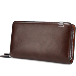 Chinese  Luxury Wallets Double Zipper Leather Male Purse Business Men Long Wallet Designer Brand Mens Clutch Handy Bag carteira Masculina manufacturers