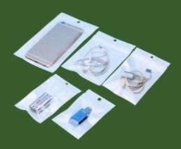 Discount packaging for cell phone accessories - Clear White Pearl Plastic Poly Bags OPP Packing Zipper Lock Package Accessories PVC Retail Boxes Hand Hole for USB Samsu