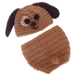 knitted toddler hat UK - Very Cute Newborn Puppy Costume,Handmade Knit Crochet Baby Boy Girl Dog Animal Hat and Diaper Cover Set,Toddler Halloween Photography Prop