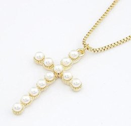 $enCountryForm.capitalKeyWord Canada - New Design Fashion rosary Chain simulated Pearl Cross Pendants Necklace Statement long necklace jewelry for women