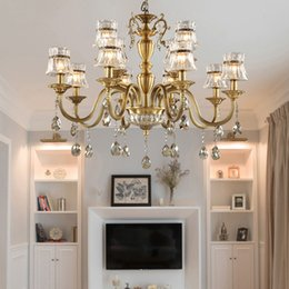 $enCountryForm.capitalKeyWord Canada - LED chandelier high end american style full copper chandeliers lamp living room bedroom dining study room staircase pendant light