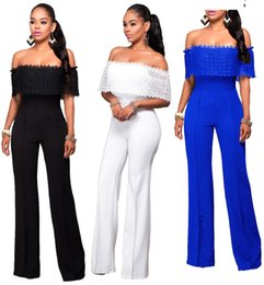 Barato Macacão Branco Azul-2017 Hot White Blue Black Long Rompers Moda Loose Style Mulheres Casual Long Jumpsuits Off Shoulder Sexy FS1821