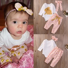 suit baby sets autumn 3pcs NZ - 2016 hot sale children suits 3Pcs Newborn Infant Baby Girls lovely Clothes Romper tops+pants Playsuit trousers Outfit fashion top Cute Set