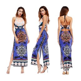 Robe Maxi Orange Pas Cher-Beach Party Maxi Halter Waves Striped Women sans manches Long Maxi Robe sans manches Beach Floor-Lenghth Patchwork High Waist Dress