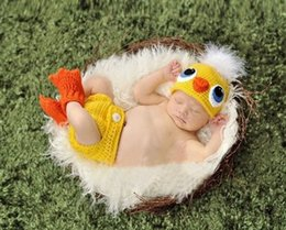 Kawaii Shoes NZ - baby photography accessories Kawaii yellow chickabiddy newborn hat +pants +shoes newborn prop baby photo shooting fotografia