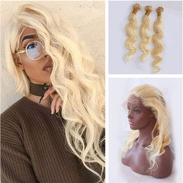 $enCountryForm.capitalKeyWord Canada - Blonde Body Wave Human Virgin Hair Weave With 360 Full Lace Frontal With Adjustable Strap Baby Hair Around #613 Strawberry Blonde Hair