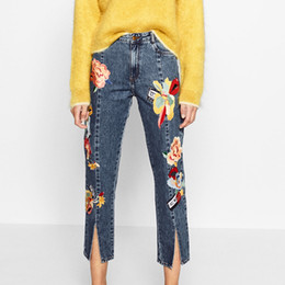 $enCountryForm.capitalKeyWord Canada - Wholesale- spanish style women jeans front split flower patch embroidered denim jeans high waist ankle-length pants trousers