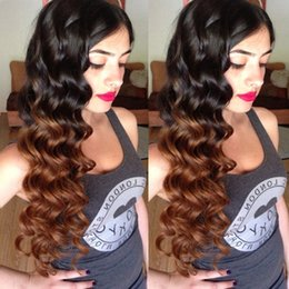 Discount ombre peruvian wavy hair - Lace Front Human Hair Wigs Wavy Ombre Two Tone T1B 30 Loose Wave Peruvian Virgin Hair Natural Hairline Lace Front Wig Bl