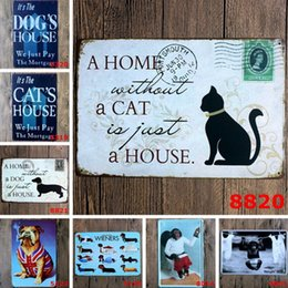 Dogs Cats Art Canada - Sign Painting Cat Dog Monkey Flamingo Vintage Craft Tin Retro Metal Painting Antique Iron Poster Beer Bar Pub Signs Wall Art Sticker