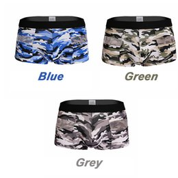 Barato Roupa Interior Floral Dos Homens-Sexy Camouflage Boxers Low Waist Cotton Turnks Print Moda Hollow 2017 Underwear Penis Pouch Summer Cool Gay Boxer Men