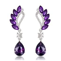 9177a08b9 New Fashion Teardrop Crystal Drop Dangle Earrings Sapphire Amethyst  Gemstone Crystal Earrings for Women Wedding Party Jewelry Gifts