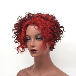 XT1052 European Women s Fashion Is Made Of Natural Fiber Short Hair Wine Red  Big Wave Style Red Wigs c2cfc96da5