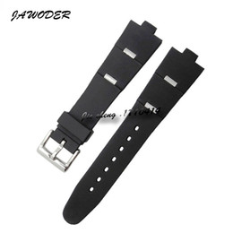 rubber 8mm NZ - JAWODER Watchband 22 24mm X 8mm Men Women Black Diving Silicone Rubber Watch Band Stainless Steel Silver Pin Buckle Strap for DIAGONO