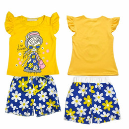 kids cartoons t shirts wholesale Australia - Children Casual Suits Clothes Sets Girls Short Sleeve Cartoon T-shirt + Printed Short Kids Hot
