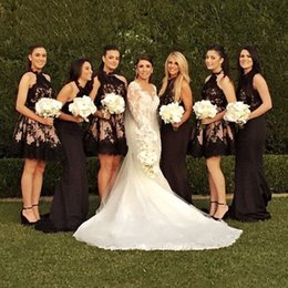 $enCountryForm.capitalKeyWord Canada - Halter Pearl Pink Open Back Halter Neckline Bridesmaid Dress with Black Lace Sash Applique Short Wedding Party Dresses