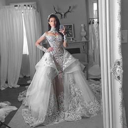 Detachable Wedding Dress Skirts Canada - Modest Mermaid Detachable Train Bridal Gown High Neck Long Sleeve Appliques Crystal Wedding Dress Over Skirts Ruffles Organza Wedding Gown
