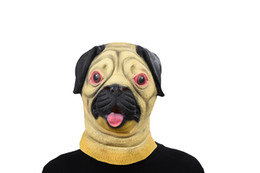 Costume De Chien De Costume Adulte Pas Cher-Pug Dog Head Latex Masque Masque complet pour adultes Masque respirant Halloween Masquerade Fancy Dress Party Cosplay Costume Cute Animal Mask