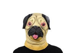 Barato Vestido De Fantasia De Cachorro Para Adultos-Pug Dog Head Máscara de látex Máscara completa para adultos Máscara respirável Halloween Masquerade Fancy Dress Party Cosplay Costume Cute Animal Mask