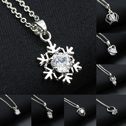 Ring Slides Canada - Korean silver diamond necklaces pendant for girls snow flower crown crystal necklace jewelry heart butterfly ring shape charm necklace chain