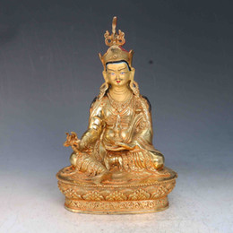 $enCountryForm.capitalKeyWord NZ - Antique Collection Folk Art Chinese Brass gilt Hand painted Face Carved Padmasambhava Statues X0330