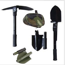 military tools NZ - Multi-function Camping Shovel Military Portable Folding shovel Survival Spade Trowel Dibble Pick Emergency Garden Outdoor Tool