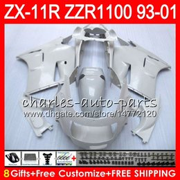 Discount pearl white fairing - 8Gifts For KAWASAKI NINJA ZX11 ZX11R 93 01 98 99 00 01 ZZR 1100 22NO52 Pearl White ZZR1100 ZX-11R ZX-11 1993 1998 1999 2