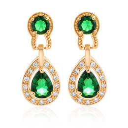 Chinese  White Green Red 18K Yellow Gold Plated Cubic Zirconia Diamond Exquisite Women Earrings Wedding Jewelry For Women Lady manufacturers