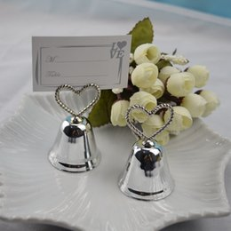 table place cards holders NZ - Heart Bell Silver Bell Place Card Holder Photo Holder Wedding Table Decoration Favors DHL Free Shipping