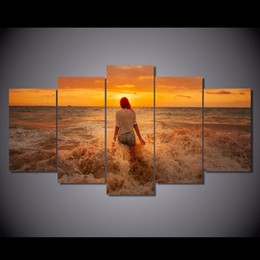 $enCountryForm.capitalKeyWord Australia - 5 Pcs Set Framed Printed Sunset Beach Girl Painting Canvas Print room decor print poster picture canvas Free shipping NY-6281