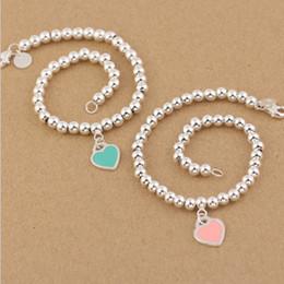 Heißer Verkauf S925 Sterlingsilber bördelt Kettenarmband mit Email grenn und rosa Herzen für Frauen und Muttertagsgeschenkschmucksachen freies shi