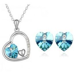 Fashion jewelry sets online shopping - Fashion Heart Crystal Set DHL Charm Love Jewelry Sets Necklace Earrings Rhinestone Color Noble Jewelry for Women Bride