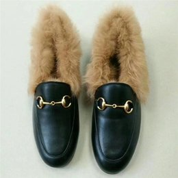 040d177fc918 New 2017 Genuine Leather Women Shoes Real Rabbit Fur Brand Loafers Luxury  Designer Winter Warm Shoes Brand Chain Flats F60